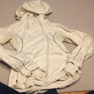 Cream lululemon size 1x rain jacket with hood